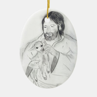 Jesus With Lamb Christmas Ornament
