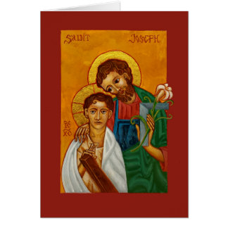 Jesus with St Joseph as Worker & Father Blank Card