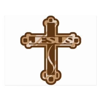 Jesus wooden Cross Postcard