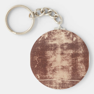 Jesus's Face Close up on the Shroud of Turin Basic Round Button Key Ring