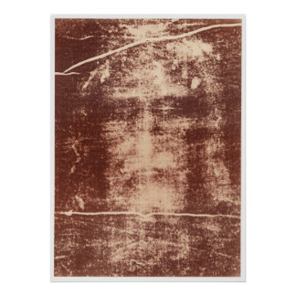 Jesus's Face Close up on the Shroud of Turin Poster