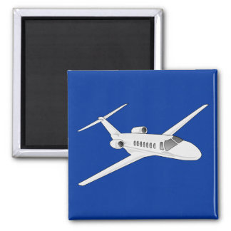 Jet Airplane on Blue Sky Background. Square Magnet