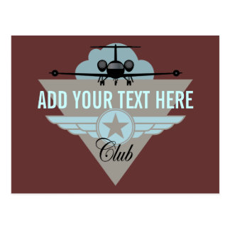 Jet Airplane Wing Club Postcards