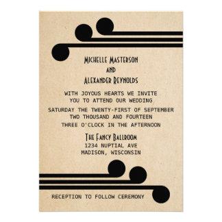 Jet Black Deco Chic Wedding Invite