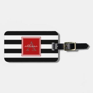 Jet Black Monogrammed Awning Stripe Luggage Tag