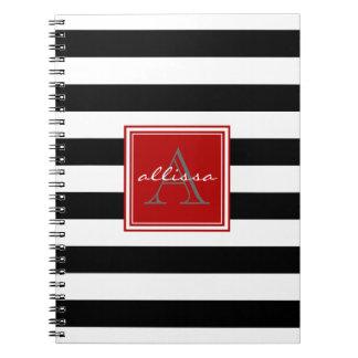 Jet Black Monogrammed Awning Stripe Notebook