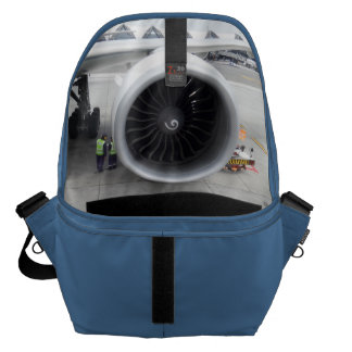 Jet Engine Blue Large Messenger Bag