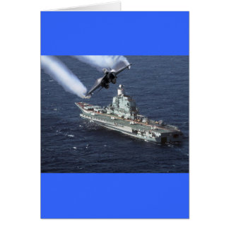 Jet Fighter Over Navy Ship Card