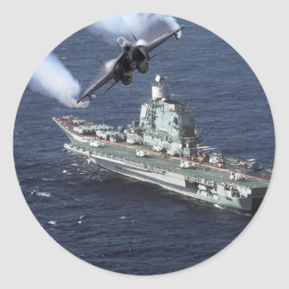 Jet Fighter Over Navy Ship Classic Round Sticker