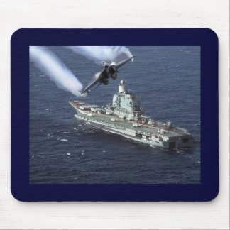 Jet Fighter Over Navy Ship Mouse Mat