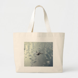 Jet Fighter Over Seas Large Tote Bag