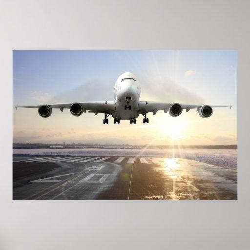 Jet Landing on Snowy Runway Poster