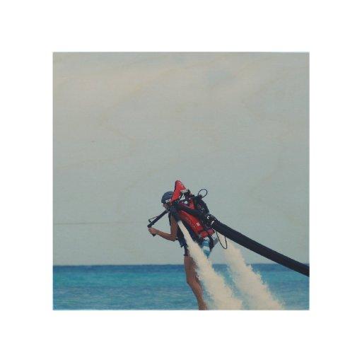 Jet Pack Blasting Off Wood Canvas