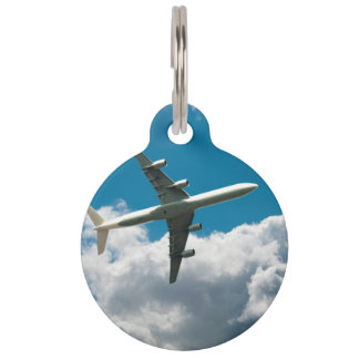 Jet Plane Ascending into Clouds Pet Name Tag