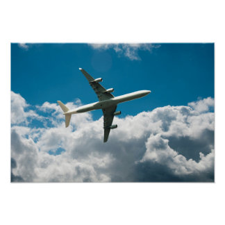 Jet Plane Ascending into Clouds Poster