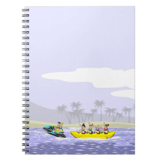 Jet ski and boat banana at maximum speed notebook