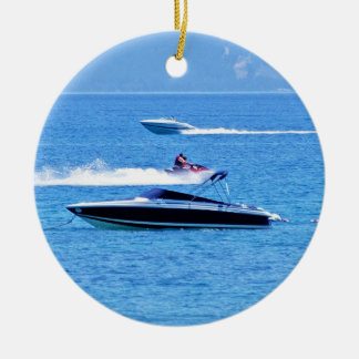Jet Ski And Boats In The Ocean Christmas Ornament