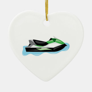 Jet Ski Ceramic Heart Decoration