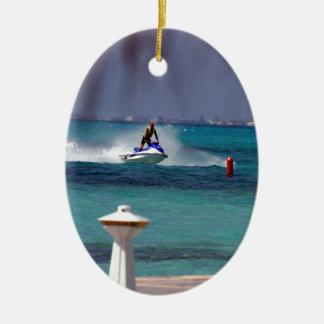 Jet Ski Paradise Ceramic Oval Decoration
