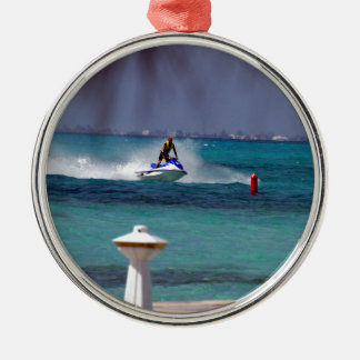 Jet Ski Paradise Silver-Colored Round Decoration