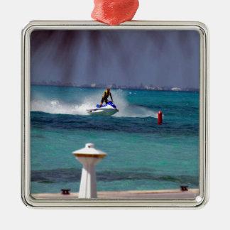 Jet Ski Paradise Silver-Colored Square Decoration