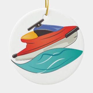 Jet Ski Round Ceramic Decoration