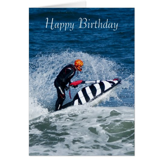 jet ski water sport birthday greeting card