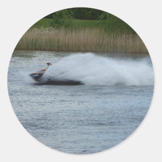 Jet Skier on Lake Classic Round Sticker