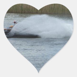 Jet Skier on Lake Heart Sticker