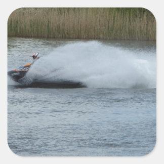 Jet Skier on Lake Square Sticker