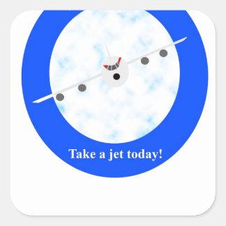 Jet Travel Square Sticker