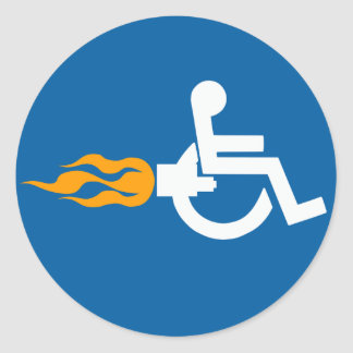 Jet Wheelchair Round Sticker