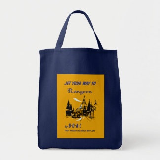 Jet Your Way to Rangoon Grocery Tote Bag