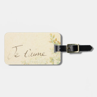 'Jet'aime' - French Vintage Victorian Floral Luggage Tag