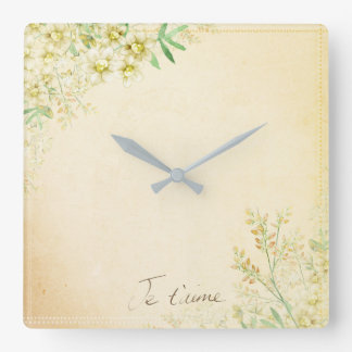 'Jet'aime' - French Vintage Victorian Floral Square Wall Clock
