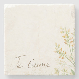 'Jet'aime' - French Vintage Victorian Floral Stone Coaster