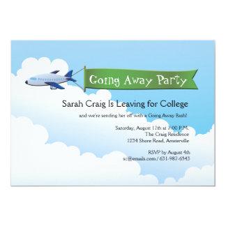 Jetliner Banner Going Away Party Invitation