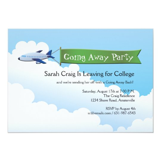 Jetliner Banner Going Away Party Invitation