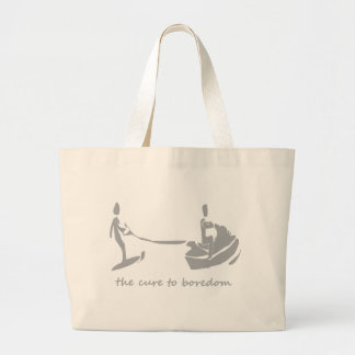 Jetski/waterskiing is the cure to boredom large tote bag