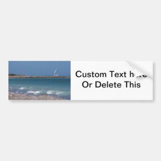 jetty boats waves florida beach bumper sticker