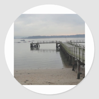 Jetty on Poole Harbour Classic Round Sticker