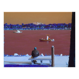 jetty scene in graphic boat man blue orange personalized flyer