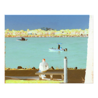 jetty scene in graphic boat man  yellow style full color flyer