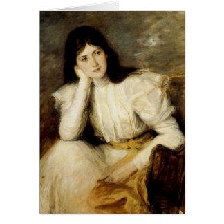 Jeune Fille Reveuse, Portrait de Berthi Capel Greeting Card