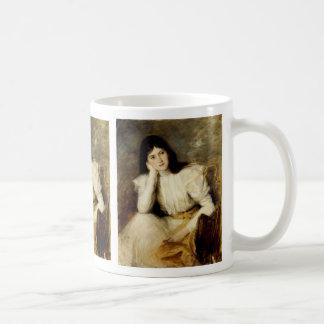 Jeune Fille Reveuse, Portrait de Berthi Capel Basic White Mug