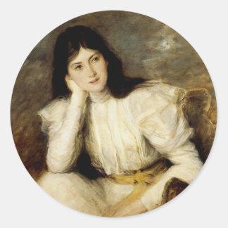 Jeune Fille Reveuse, Portrait de Berthi Capel Round Sticker