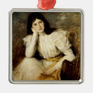 Jeune Fille Reveuse, Portrait de Berthi Capel Silver-Colored Square Decoration