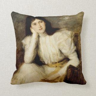 Jeune Fille Reveuse, Portrait de Berthi Capel Throw Pillow