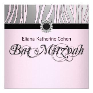 Jewel Black Pink Zebra Bat Mitzvah Announcement