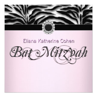 Jewel Black Pink Zebra Bat Mitzvah Personalized Invite